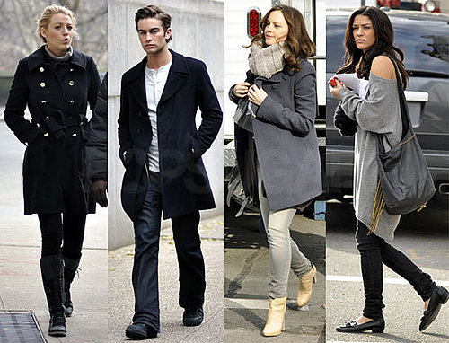 Photos of the Gossip Girl Cast On Set In Cute Winter Coats
