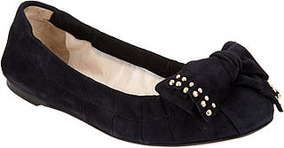 Black Suede Bow Flats With Studs