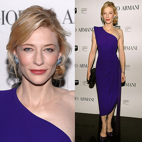 Cate Blanchett Wears One Shoulder Armani Prive Purple Dress and Blue Topaz Earrings