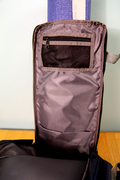 Inside of large compartment, showing zippered pocket
