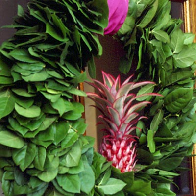 Living in a tropical climate? Celebrate that fact with an equally balmy wreath. Source