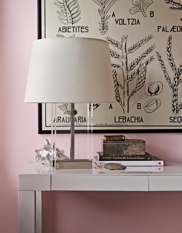 A super-soft cotton candy pink adds a soothing element to this room. Source