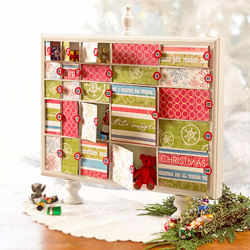 Transform a shadow box into an advent calendar with scrapbooking supplies.