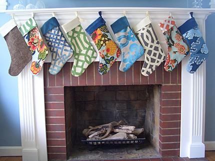 Etsy seller Plum Cushion makes these gorgeous Christmas Stockings ($40) from fabrics like Kelly Wearstler's Bengal Bazaar linen.