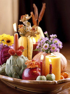 Better Homes and Gardens advises you to use veg and fruit for a natural centerpiece.