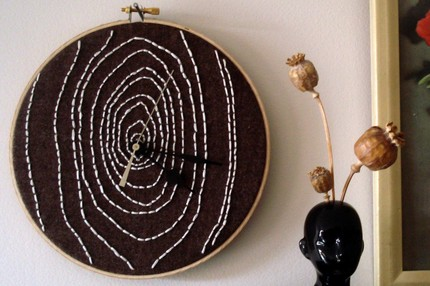 This Woodgrain Embroidered Clock ($40) is made to order for each buyer.