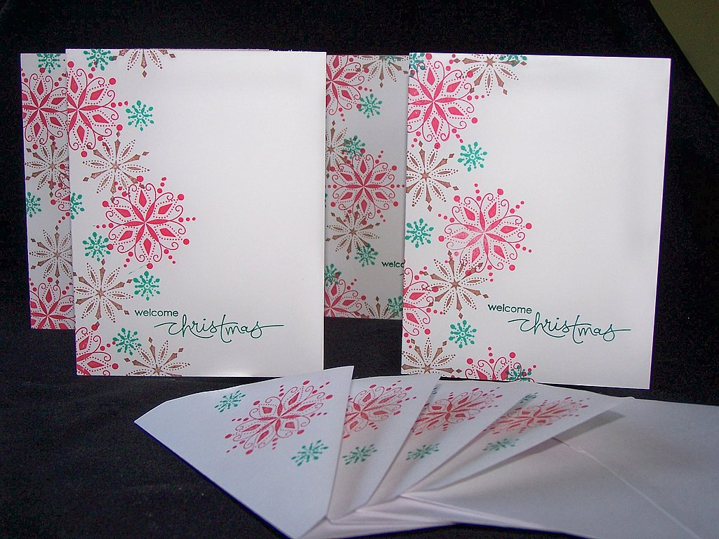 These colorful snowflakes say Welcome Christmas, and are a steal at $5 for four cards; they even come with coordinated envelopes.