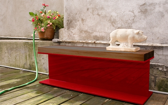 Put some building materials to use in your home with the Katch Designs Lucky Beam Bench.
