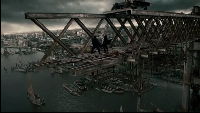 The film, which is set in the Industrial Age, delights in skylines filled with half-built, massive structures.