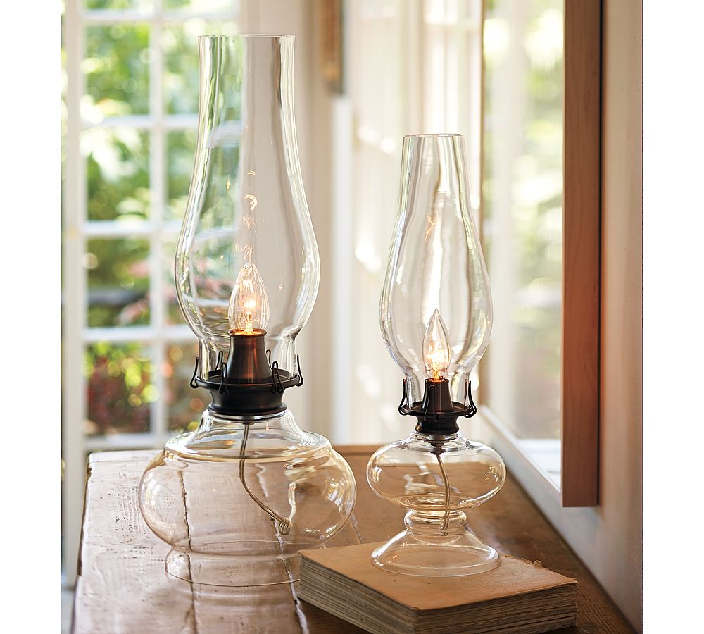 Pottery Barn's Glass Kerosene Lamps ($100) will provide illumination even when the electricity fails.