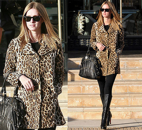 Photos of Nicky Hilton Wearing Leopard Coat and Black Christian Louboutin Boots in LA