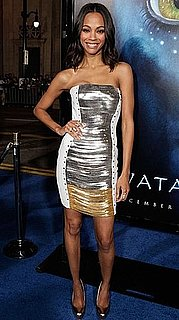 Photo of Zoe Saldana Wearing Two-Toned Fringe Versace Dress at Avatar Movie Premiere in LA