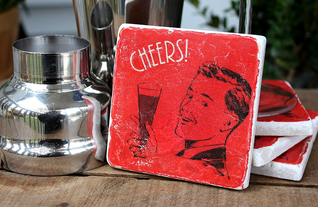 ,A set of cool coasters like these Red Cheers Coasters ($19) is essential for every New Year's party.
