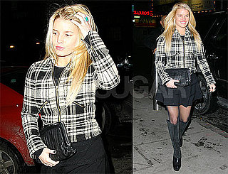 Photos of Jessica Simpson in NYC Wearing Black Skirt, Black and White Jacket