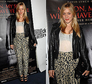 Chloe Sevigny Wears Leopard Pants and Leather Jacket