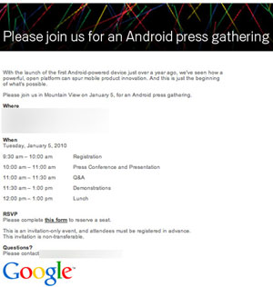 "Google Calls Android Press Event on January 5, Nokia Says Apple Stole ""Virtually All"" of It's Patents"