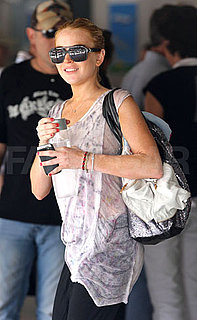 Lindsay Lohan Carries a Sequin Tote on Vacation in St. Barts