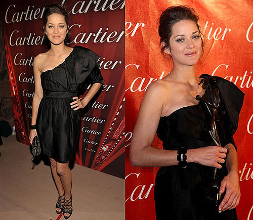 Marion Cotillard Attends Palm Springs Film Festival in Black One Shoulder Elie Saab Dress