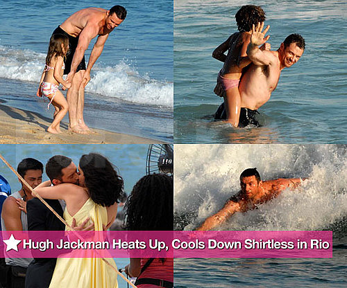 Hugh Jackman Heats Up, Cools Down Shirtless in Rio