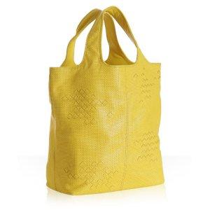 Bottega Veneta yellow woven detail leather tote