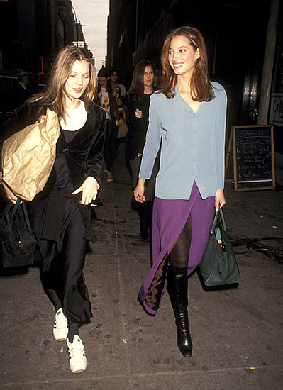 1993: With Christy Turlington, going to walk Ralph Lauren fashion show