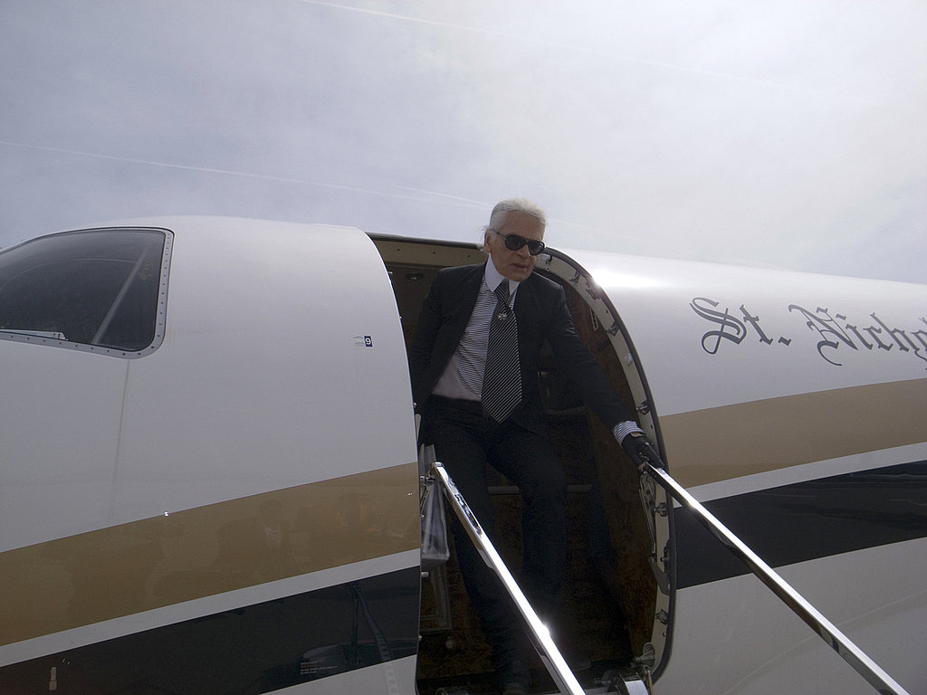 May 11: Karl Lagerfeld on his way to his summer villa Ramatuelle to shoot for the next issue of Purple Fashion in Saint Tropez.
