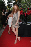 May 18: Lily Cole, in Alberta Ferretti, at the Hollywood Domino tournament