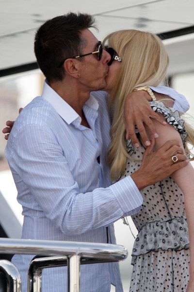 May 22: Stefano Gabbana and Claudia Schiffer on his yacht, Regina D'Italia
