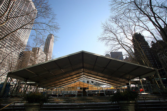 Bryant Park Prepares For Fashion Week