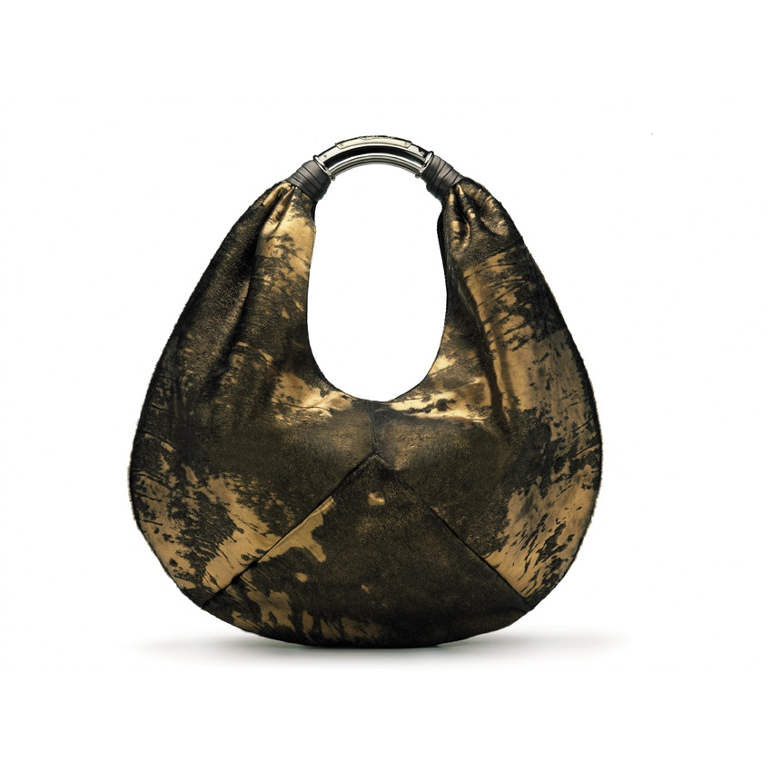$1,950 Debra - Bi-colored handbag in broze color metallic pony skin.