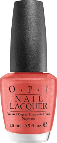 Part of the South Beach Collection, this coral polish with a hint of golden frost is extremely chip-resistant and long lasting.  The formula is free of DBP, Toluene and Formaldehyde!  OPI Nail Lacquer in Conga Line Coral $9 @ JC Penney and select salons