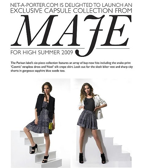 Net-a-Porter Launches Exclusive Capsule Collection With Maje