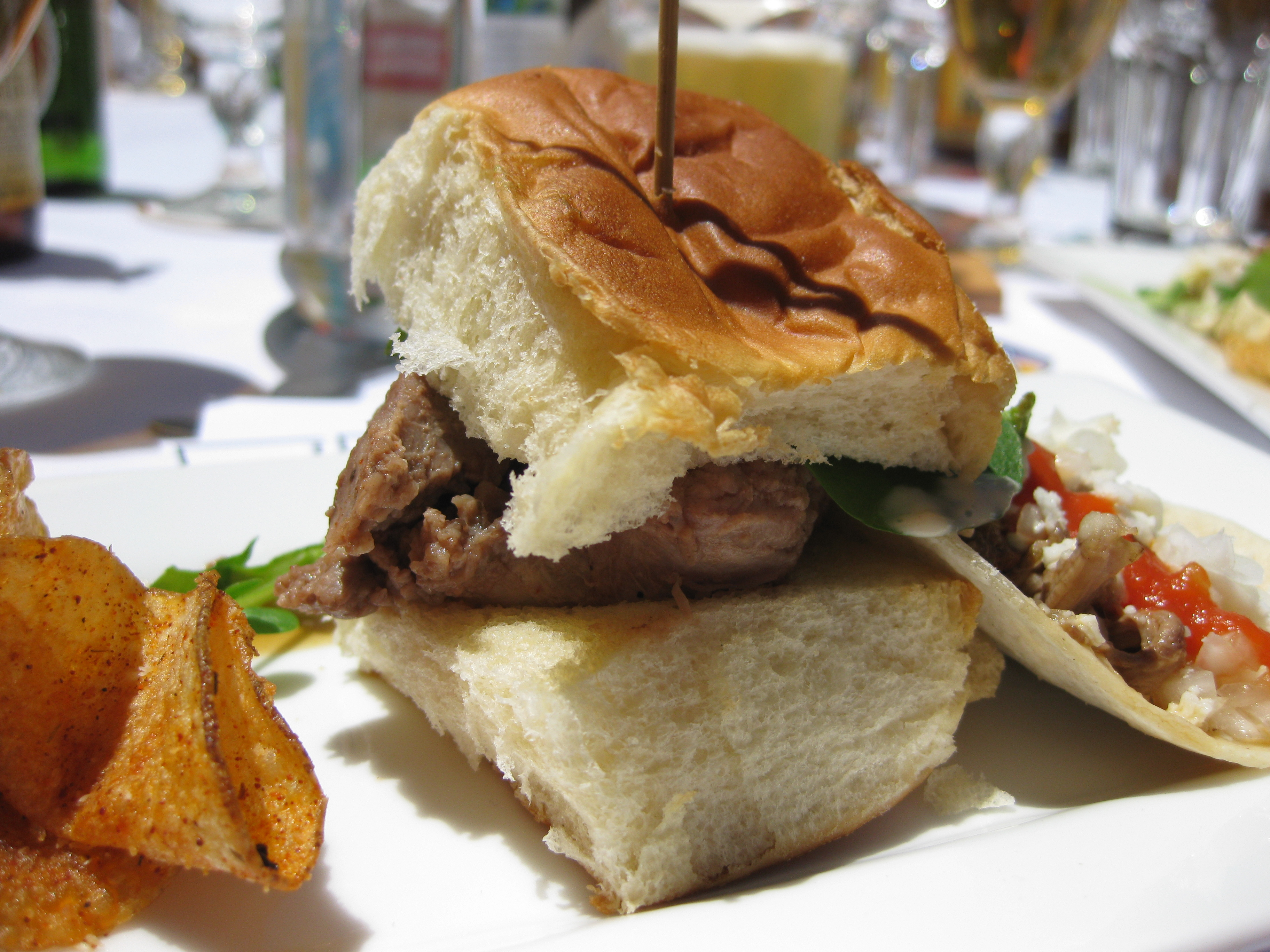 Venison slider with yuzu aioli on Hawaiian bread.