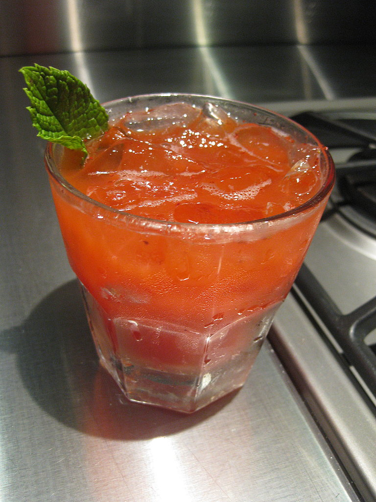 The second cocktail used a fresh strawberry puree.