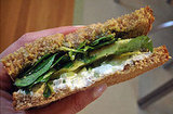 Recipe For &#039;Wichcraft&#039;s Goat Cheese Sandwich With Avocado, Celery, Walnut Pesto, and Watercress