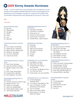 Printable Emmy Ballot for the 2009 Primetime Emmy Awards