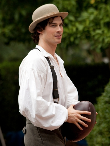 Look at Damon all jaunty and humanlike in his bowler hat!