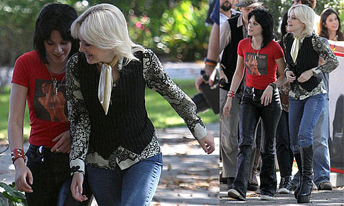 Photos of Twilight's Kristen Stewart and Dakota Fanning Filming The Runaways in LA