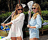 Photo Slide of Lauren Conrad and Lo Bosworth Showing Their Lacrosse Skills
