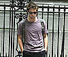 Slide Photo of Robert Pattinson Wearing a Pink Shirt and Backpack on the Set of Remember Me in NYC