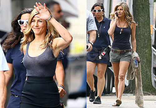 Photos of Jennifer Aniston Filming The Bounty in NYC While Gerard Butler's in LA