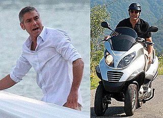 Photos of George Clooney on a Motorcycle in Lake Como, Italy