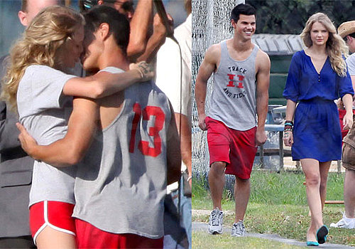Photos of Taylor Lautner and Taylor Swift Kissing on the Set of Valentine's Day
