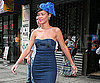 Photo Slide of Rihanna in a Blue Hat in NYC