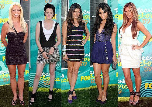 Photos of Britney Spears, Miley Cyrus, Kristen Stewart, Kim Kardashian, Vanessa Hudgens at the Teen Choice Awards Red Carpet