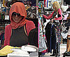 Photos of Lindsay Lohan Shopping in Orange Scarf