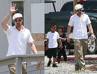 Photos of Brad Pitt, Maddox Jolie-Pitt, Pax Jolie-Pitt in New Orleans Working on Make It Right