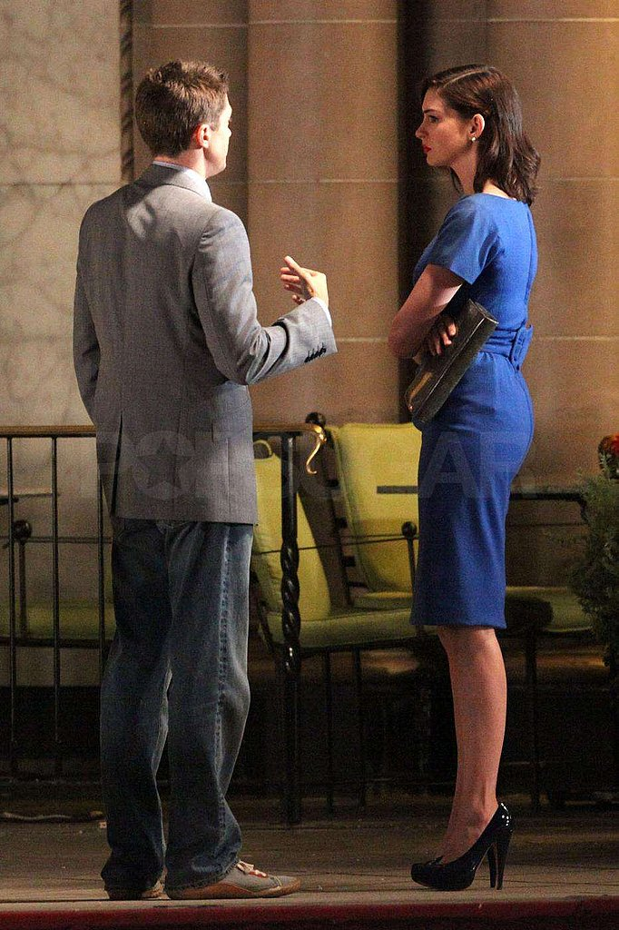 Photos of Anne Hathaway and Topher Grace on Set