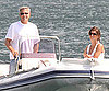 Slide Photo of George Clooney, Elisabetta Canalis on Boat in Lake Como