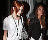 Slide Photo of Ashlee Simpson, Shenae Grimes Holding Hands After John Mayer Concert